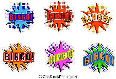 Cartoon set of explosions wizh BINGO