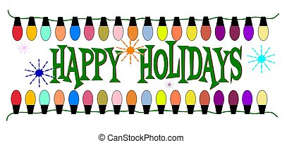 happy holidays message with lights in non traditional colors...