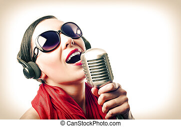 Girl with microphone - Beutiful girl in the red with...