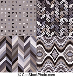 Set of Vector Retro Seamless Abstract Wavy Backgrounds - Set...