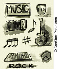 hand drawn music concept
