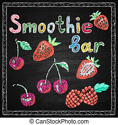 Hand drawn restaurant menu elements. - Chalk on board....