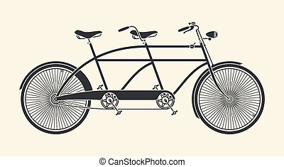 Vintage tandem bicycle - Vintage Illustration of tandem...