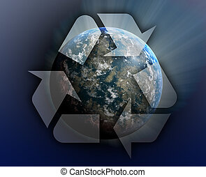 Recycling planet earth - Recycling eco symbol illustration...