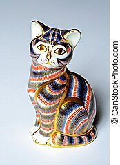 Painted china cat paperweight - Painted china cat...