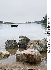 Morning on Lake Superior - Small boat in protected bay off...