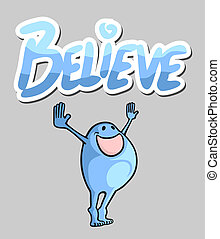 Blue believe puppet - Creative design of blue believe puppet