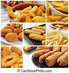 fried food collage - a collage of different fried food, such...