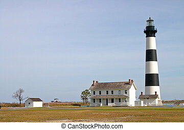 Lighthouse and Keepers House - the Bodie Island Lighthouse...