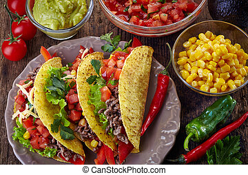 Mexican food Tacos - Plate of Mexican food Tacos on old...