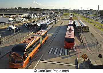 Bus in Curitiba - Terminal bi-articulated bus in Curitiba...