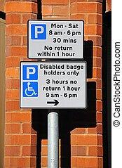 Parking restrictions sign, UK.