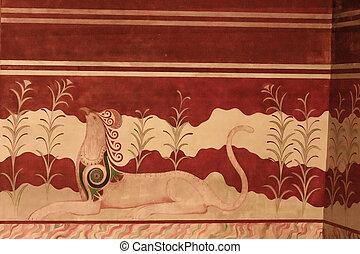 Minoan Palace fresco - Fresco of Minoan Palace representing...