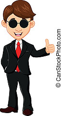 Businessman with thumb up - vector illustrtion of...