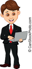 Businessman holding a computer - vector illustrtion of...
