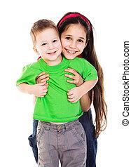Kinder, zusammen, glücklich