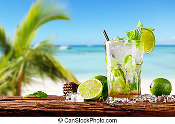 Fresh mojito cocktail on wood - Mojito drink on wood with...