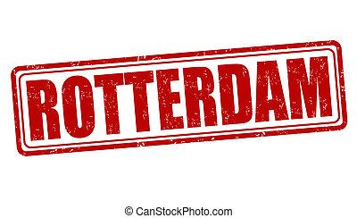 Rotterdam stamp - Rotterdam grunge rubber stamp on white,...