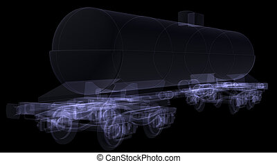 Railway tank X-ray render isolated on black background