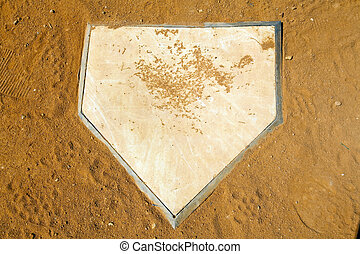 Homeplate - Dirty baseball homeplate close up top view