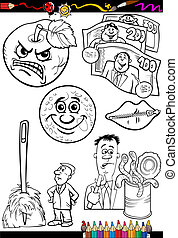 cartoon sayings set for coloring book - Coloring Book or...