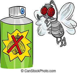 fly and bug spray cartoon illustration
