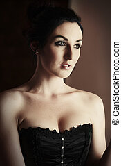 Woman in Corset - Beautiful, voluptuous and sexy caucasian...