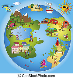 fantasy world - illustration of fantasy world with children