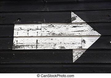 branca, Seta, pintado, cima, pretas, madeira, galpão,...