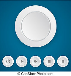 Media player white push button - Media playerwhite round...