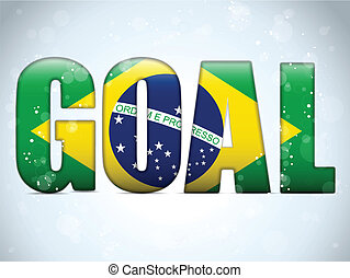 Brazil 2014 Goal Soccer Letters with Brazilian Flag - Vector...