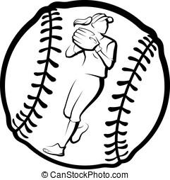 softball, jogador, Jogar, com, bola