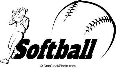 sofbol, jugador, lanzamiento, con, texto