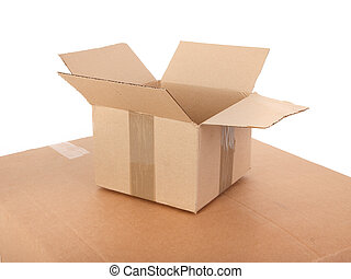 small open cardboard box on white
