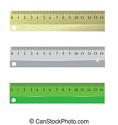 rulers - colorful illustration with rulers on a white...