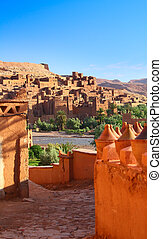 traditional Moroccan Kasbah - view on a traditional Moroccan...