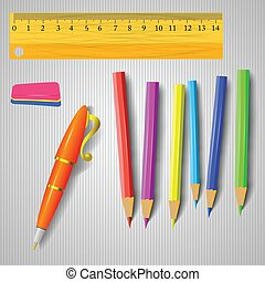 office tools - colorful illustration with office tools on a...