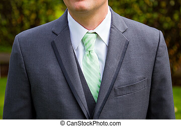 Groom Fashion Suit Jacket - Green tie, suit jacket, and...