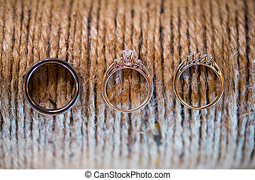 Wedding Rings and Rope - Rope or twine and wedding rings at...