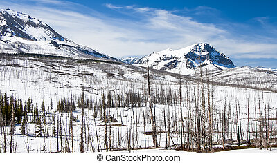 Winter Mountains of Northern Montana and Canadian Border
