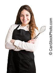 femininas, fogão, com, avental, sorrindo