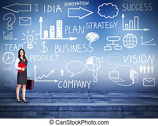 Business woman over business background