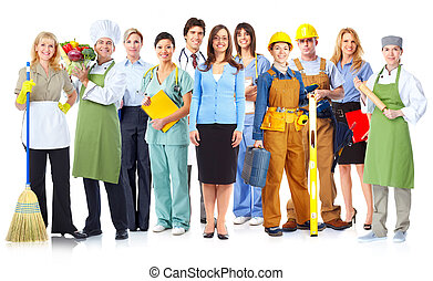Group of workers people Isolated on white background