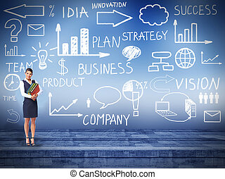 Business woman over business background - Business woman...