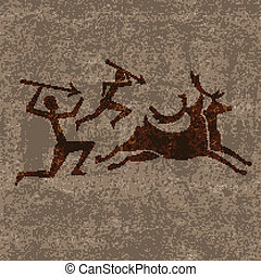 Prehistoric hunting - Ancient rock paintings show primitive...