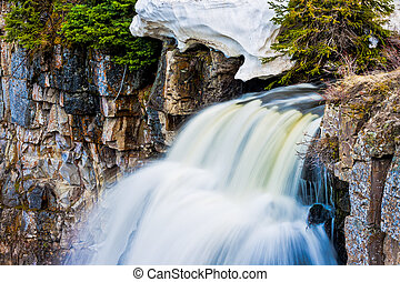 Flowing Waterfalls of Mineral Enrinched Waters in Yellowstone Na