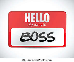 boss name tag illustration design over a white background