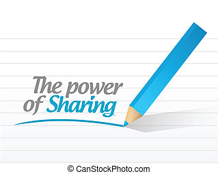 power of sharing message illustration design over a white...