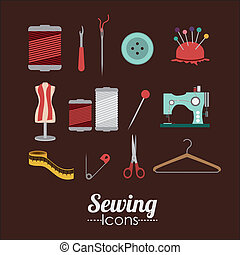 Sewing design over brown background, vector illustration