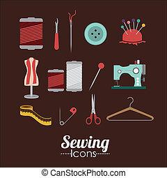 Sewing design over brown background, vector illustration